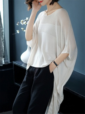 Ice Yarn Casual Half Sleeve Knitted Sweater_4