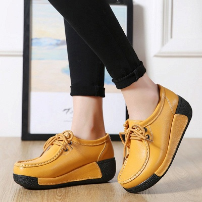 Wedge Heel Daily Lace-up Round Toe Loafers_3