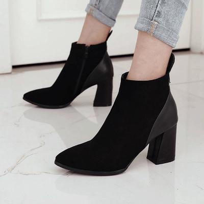 Chunky Heel Suede Elegant Round Toe Boots_3