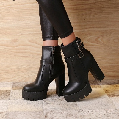 Daily Chunky Heel Zipper Round Toe Buckle Boots_3