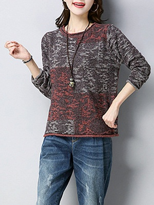 Casual Shift Long Sleeve Wool Color-block Sweater_9