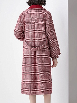 Burgundy Balloon Sleeve Buttoned Houndstooth Coat_3