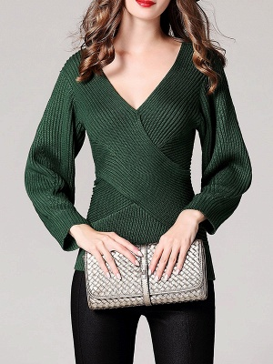 Green Sheath Long Sleeve Plunging neck Sweater_5