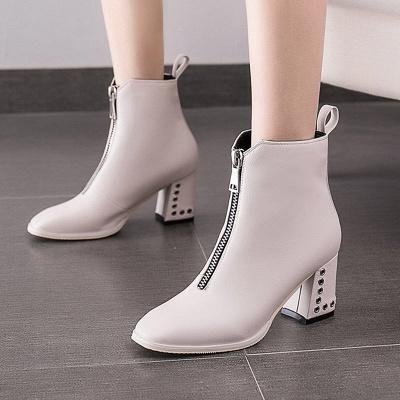 Zipper Chunky Heel Winter PU Daily Middle Heel (3-8cm) Boot_1