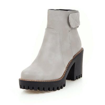 Daily Chunky Heel Zipper Round Toe Boots_5