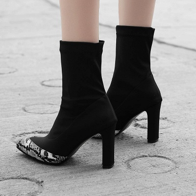 Daily Chunky Heel Pointed Toe Elegant PU Boots_6