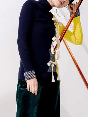 Multicolor Stand Collar Paneled Statement Sheath Sweater_8