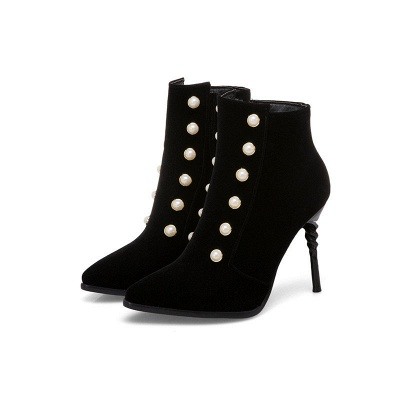 Suede Daily Stiletto Heel Pointed Toe Zipper Boots_3