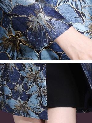 Blue Casual Shift Lapel Pockets Coat_6