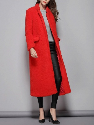 Red Shift Solid Stand Collar Long Sleeve Coat_4
