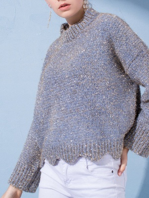 Gray Long Sleeve Casual Corduroy Stand Collar Sweater_7