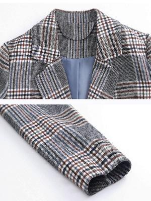 Gray Checkered/Plaid Long Sleeve Pockets Coat_5