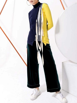 Multicolor Stand Collar Paneled Statement Sheath Sweater_4