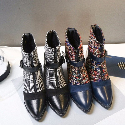 Daily Zipper Pointed Toe Buckle Chunky Heel Boots_7