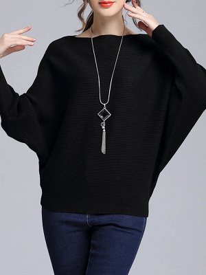 Wool Casual Batwing Sweaters_3