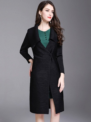 Shift Buttoned Pleated Shawl Collar Coat_3