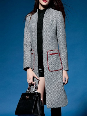 Shift Long Sleeve Pockets Solid Coat_6