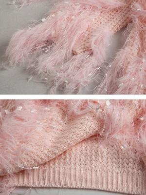 Bateau/boat neck Shift Long Sleeve Casual Sweater_10