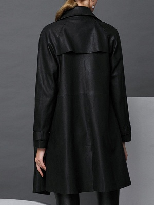 Black Leather Solid Casual Long Sleeve Coat_3