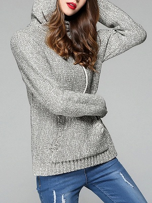 Paneled Sports & Outdoor Sheath Long Sleeve Sweater_3