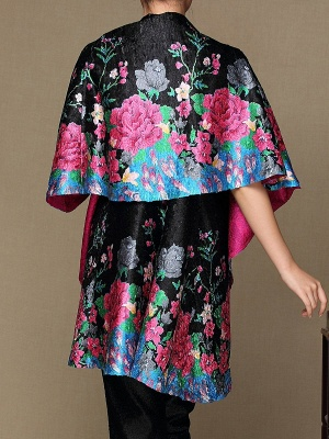 Black Long Sleeve Floral Casual Floral-print Crinkled Coat_3