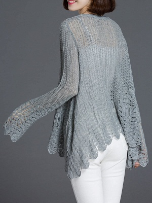 Crocheted Daily Casual Knitted Shift Sweater_14