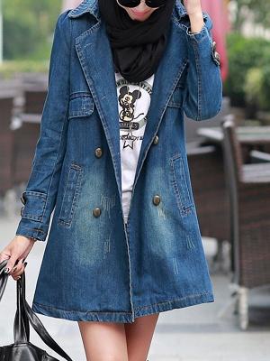 Blue Shift Long Sleeve Pockets Buttoned Shirt Collar Coat_1