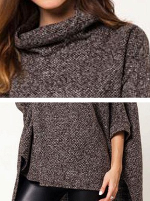 Batwing Cotton Shift Solid Casual Sweater_6