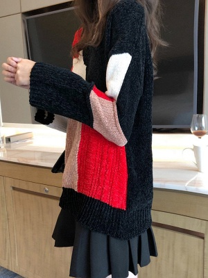 Multicolor Casual Solid Long Sleeve V neck Color-block Sweater_6