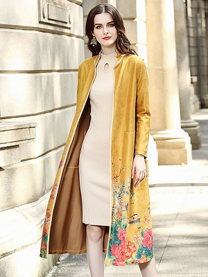 Long Sleeve Stand Collar Floral Printed Pockets Coat_10