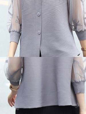 3/4 Sleeve Buttoned Beaded Paneled Pleated Coat_8