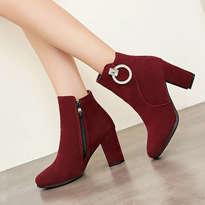 Suede Chunky Heel Working Square Toe Boots_1