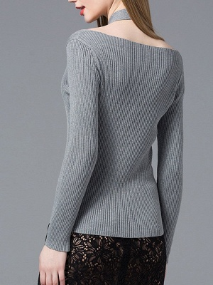 Gray Knitted Halter Simple Sweater_3