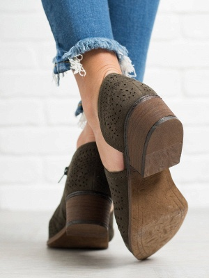 Hollow-out Low Heel Summer Faux Suede Boot_7