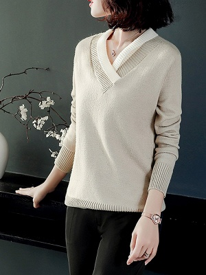 Long Sleeve Solid Casual Piping Sweater_3