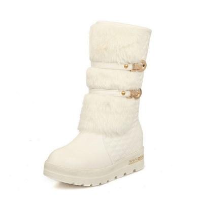 Women's Boots Black Wedge Heel Round Toe Buckle Boots_1