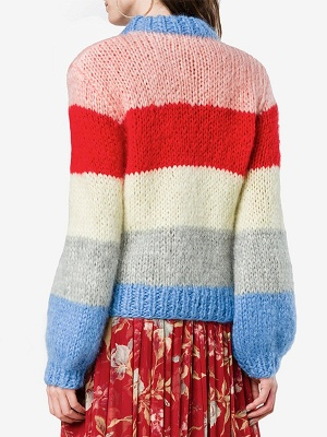 Multicolor Shift Crew Neck Casual Sweater_3