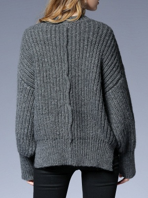 Long Sleeve Crew Neck Knitted Casual Sweater_4