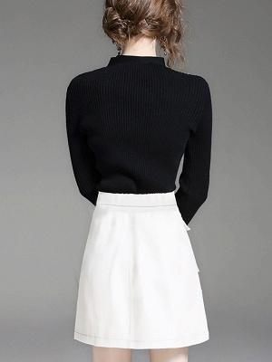 Black Long Sleeve Solid V neck Paneled Sweater_3