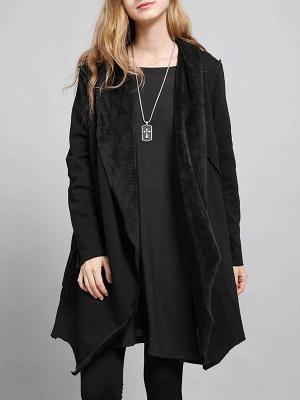 Shawl Collar Asymmetric Solid Casual Long Sleeve Coat_8