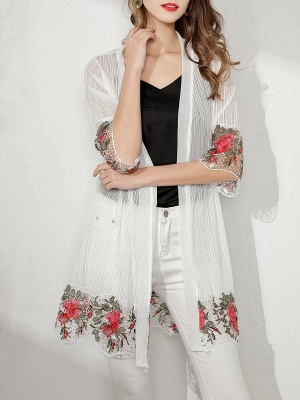 Shift Going out Casual Floral Crocheted Sunscreen Coat_1