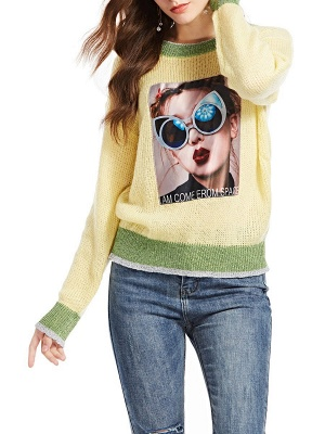 Yellow Long Sleeve Graphic Sweater_6