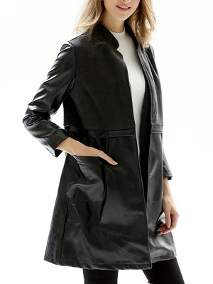 Black Long Sleeve Stand Collar Coat_7