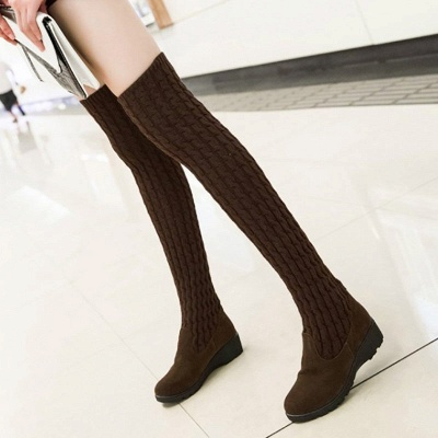 Suede Daily Wedge Heel Round Toe Boot_1