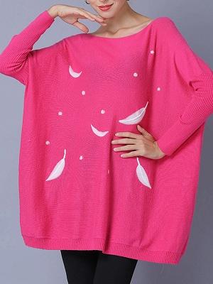 Rose Printed Wool Bateau/boat neck Batwing Casual Sweater_4
