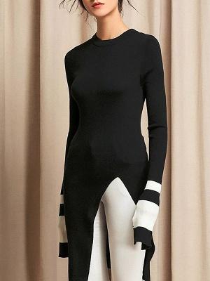 Casual Crew Neck Wool Sheath Long Sleeve Sweater_3