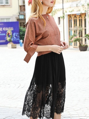 Brown Crew Neck Shift Casual Knit Top_4