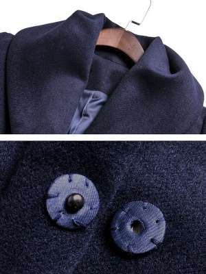 Pockets Buttoned A-line Paneled Shawl Collar Coat_7
