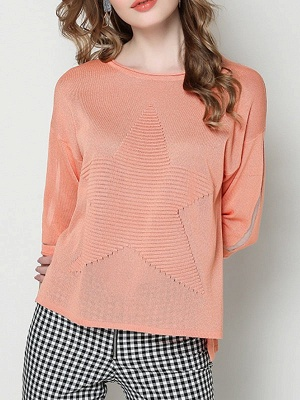 Ice Yarn Coral Solid Casual Shift Knitted Asymmetric Sweater_1