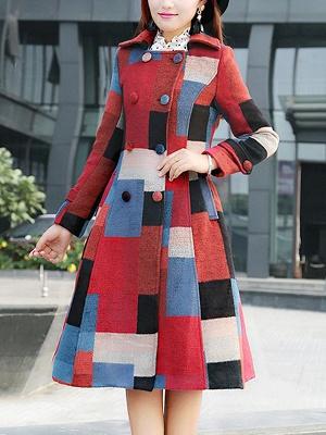 Multicolor Buttoned Color-block Pockets Coat_1